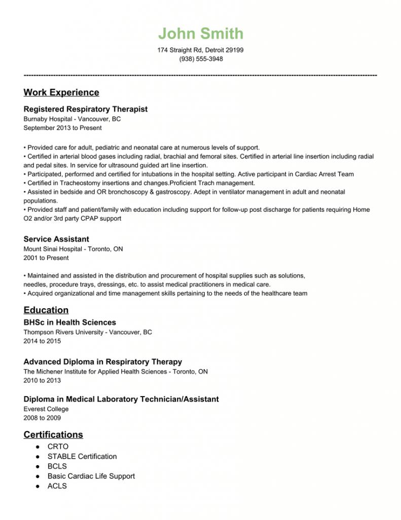 Resume Examples Respiratory Therapist
