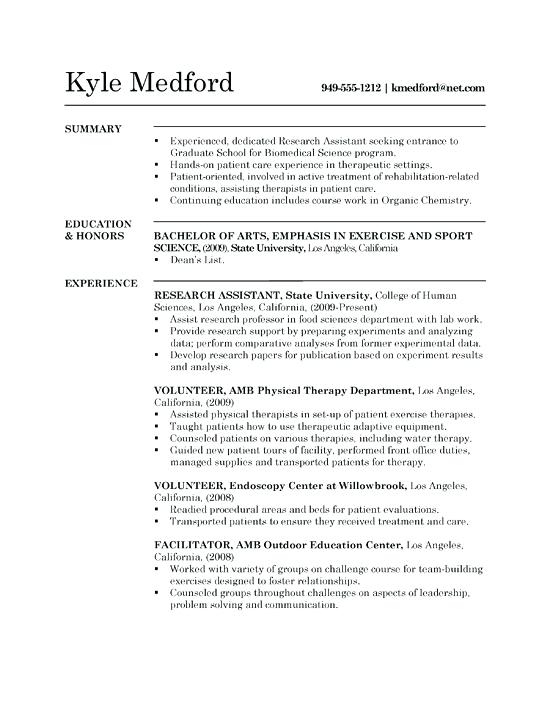 Cv Template Research Assistant