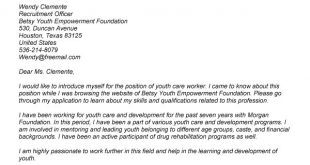 Cover Letter Template Youth Worker