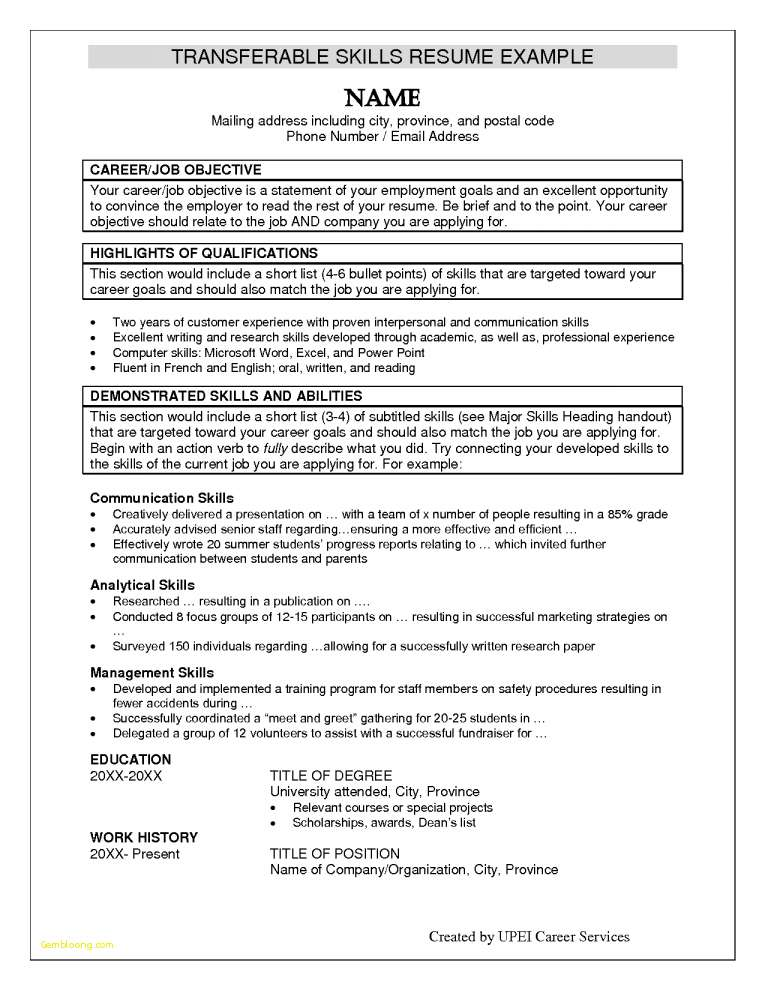 resume examples with skills