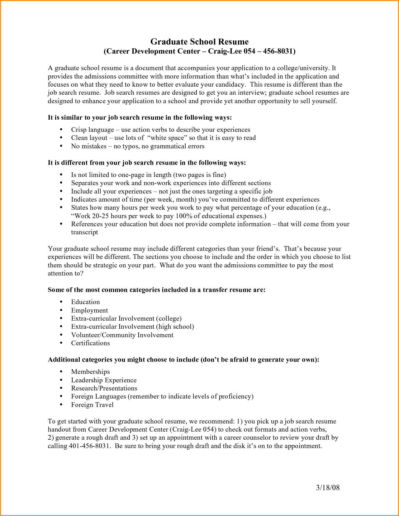 Resume Examples Grad School