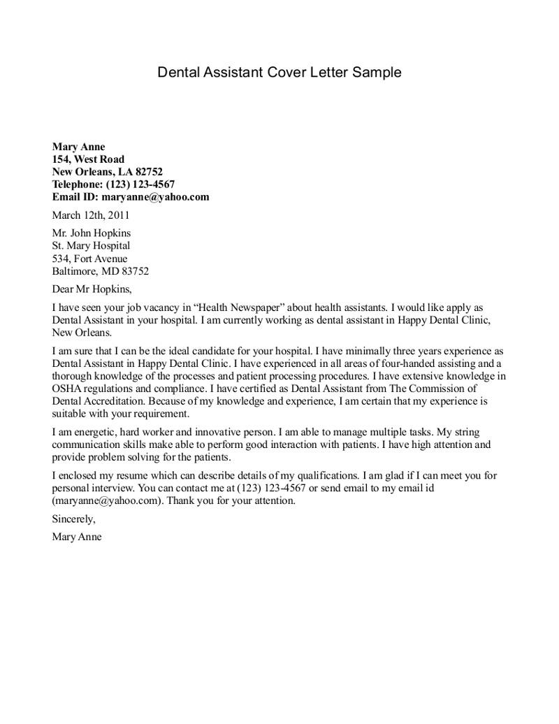 Cover Letter Template Dental Assistant