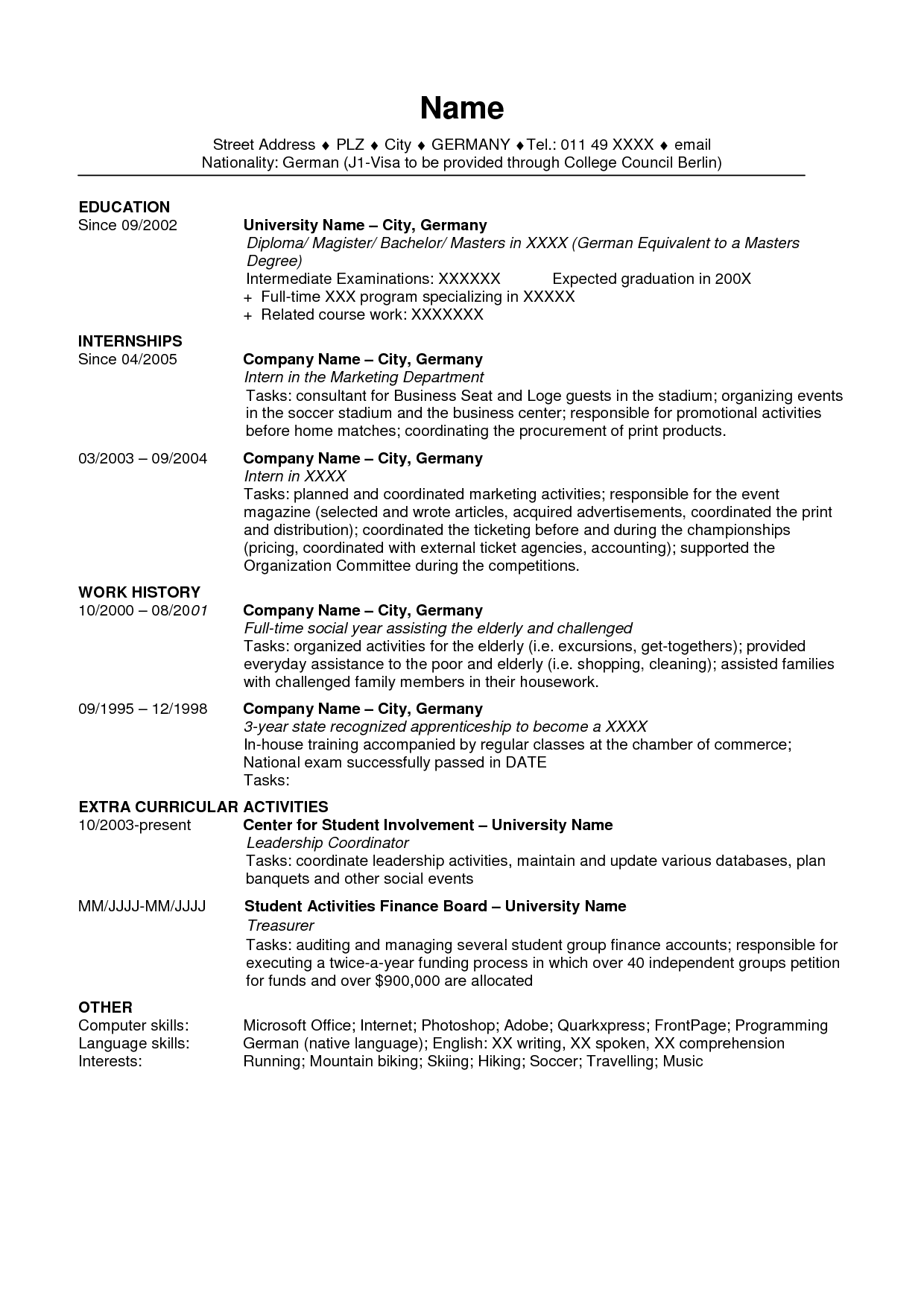 resume examples us style