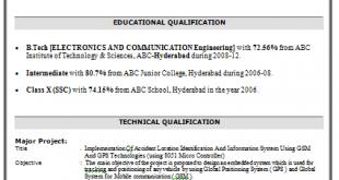 B Tech Resume Examples