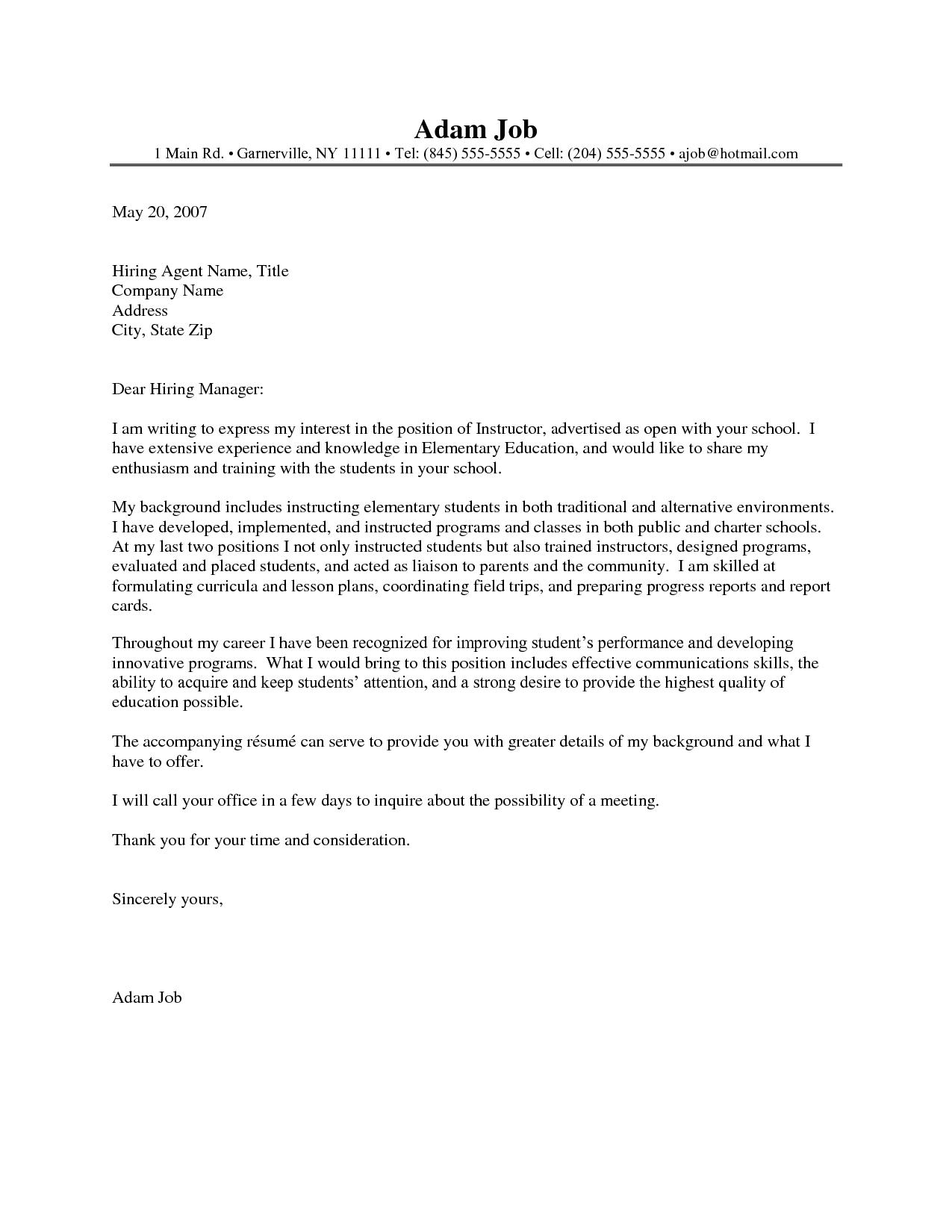 Cover Letter Template For Teachers - Resume Examples