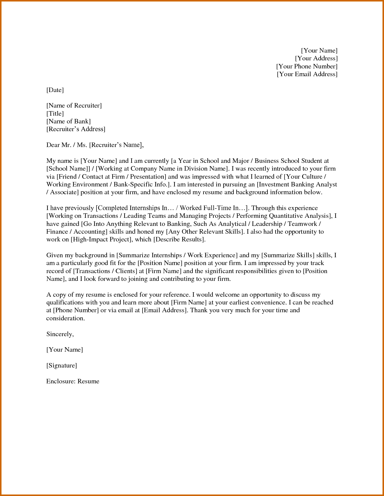 Cover Letter Template Investment Banking - Resume Examples