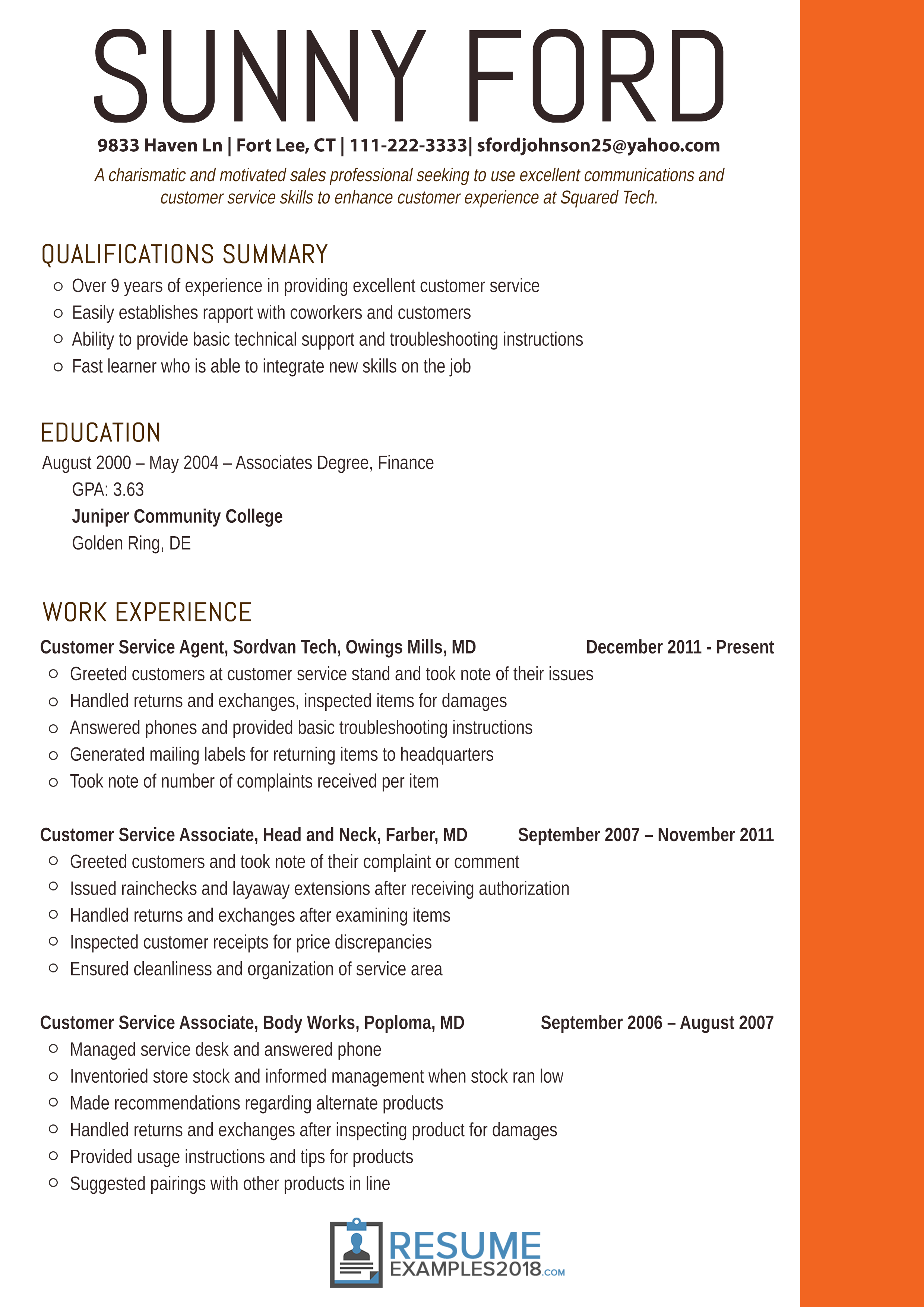 Resume Examples 2018 Customer Service
