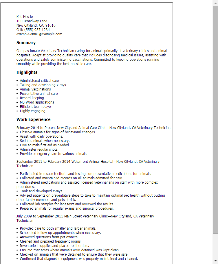 resume examples veterinary assistant