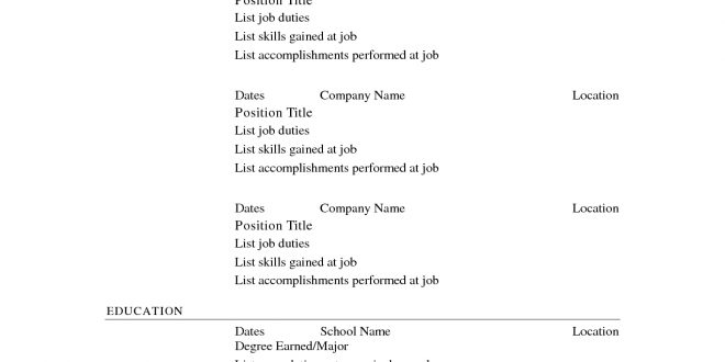100 Free Printable Resume Templates