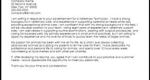 Cover Letter Template Veterinary Technician