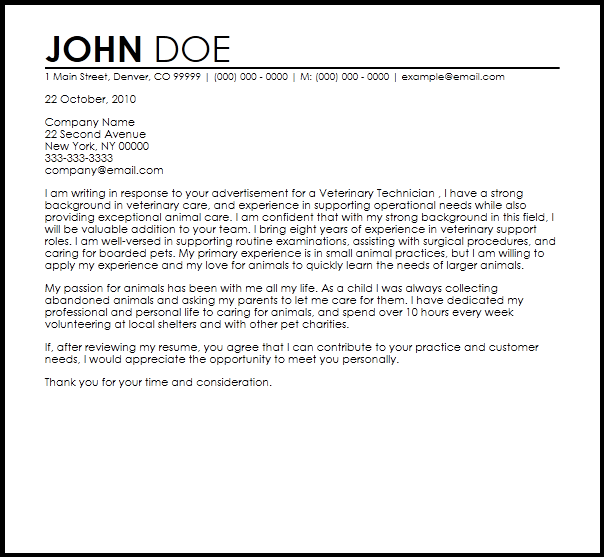 Cover Letter Template Veterinary Technician Resume Examples