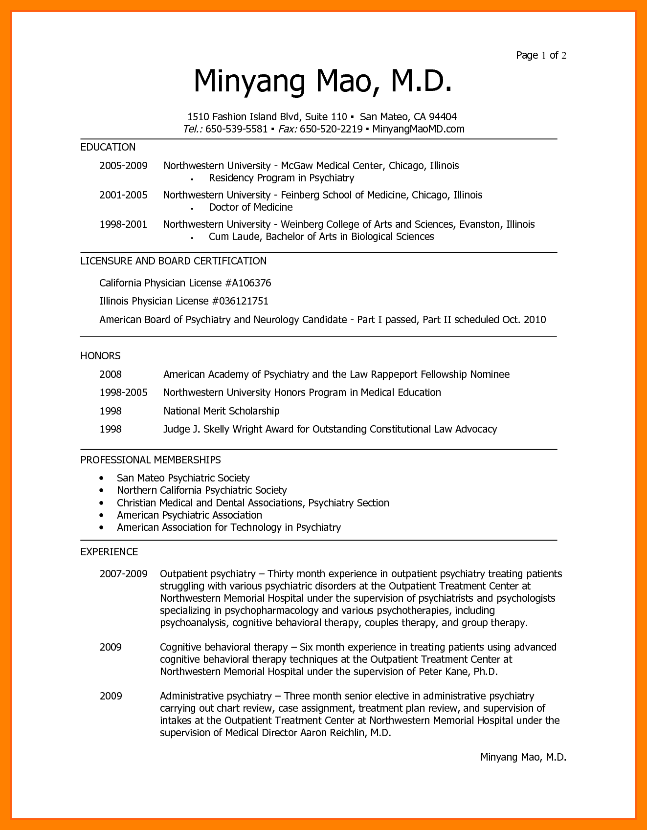 Cv Template Medical Student