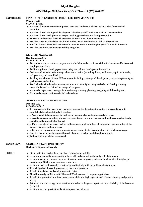 resume examples kitchen