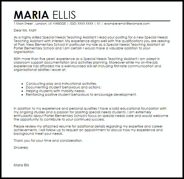 Cover Letter Template Teacher Assistant