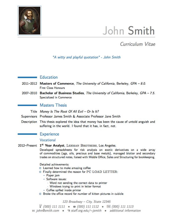free resume templates latex