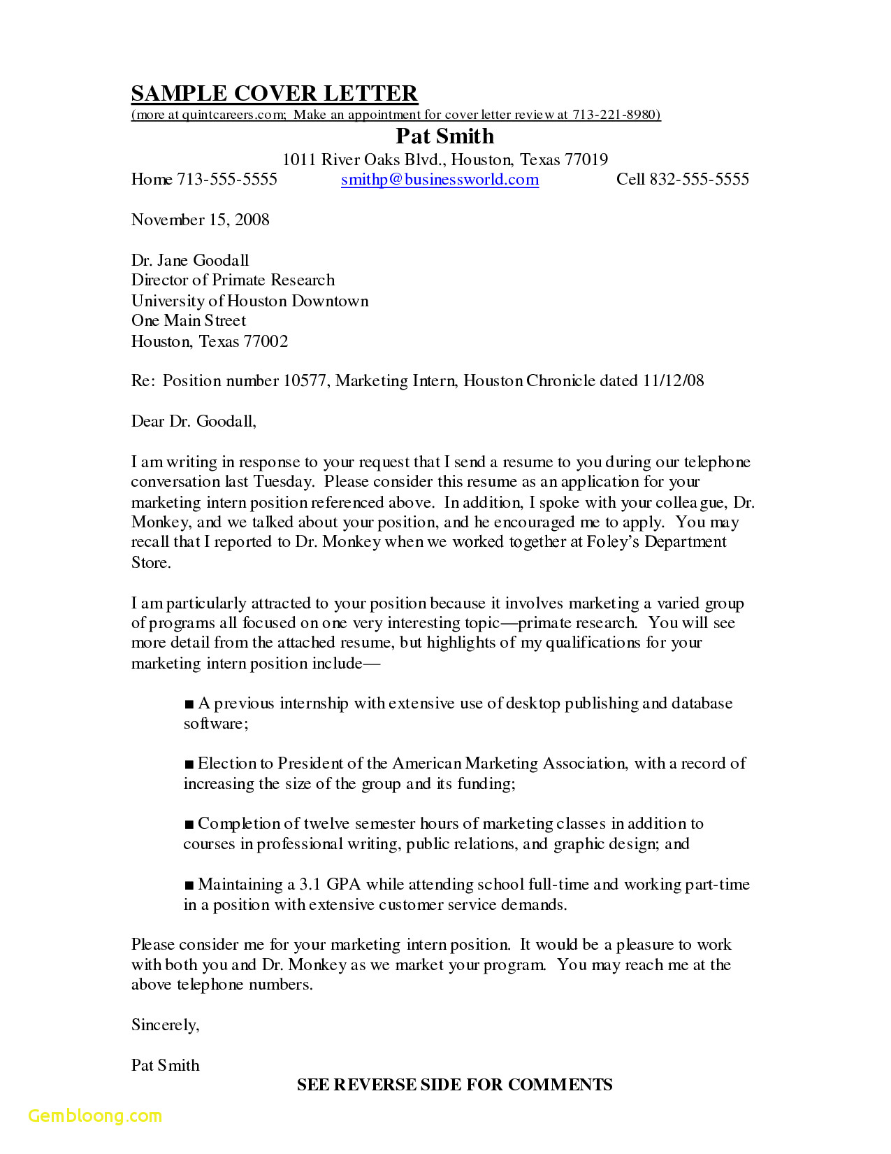 Texas A M Cover Letter Template