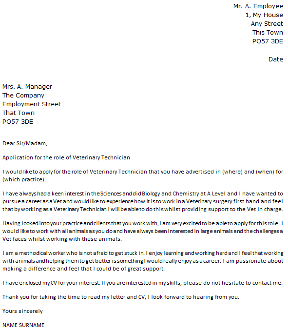 Veterinarian Assistant Cover Letter.Cover Letter Template Veterinary Technician Resume Examples