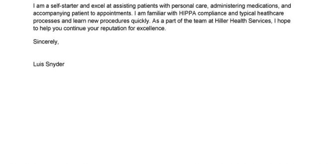 Cover Letter Template Healthcare