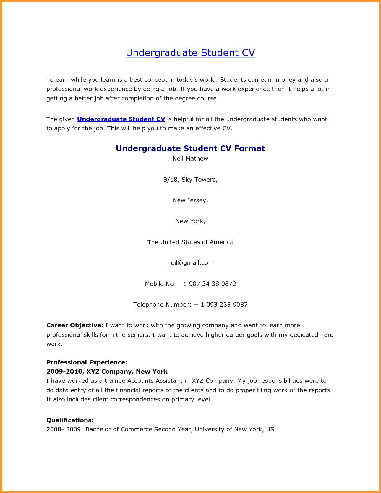 Cv Template Undergraduate Student - Resume Examples