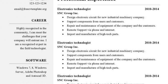 Free Resume Templates Libreoffice