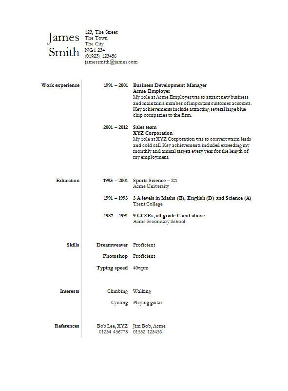 Cv Template Simple - Resume Examples