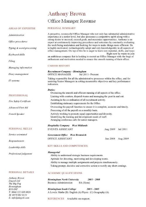 Resume Examples Office Manager - Resume Examples