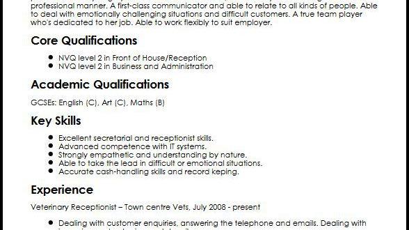 Resume Examples Veterinary Receptionist