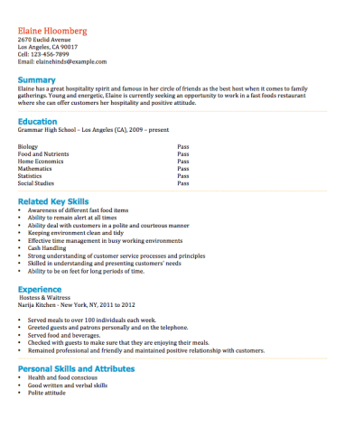 Resume Examples For Teens - Resume Examples