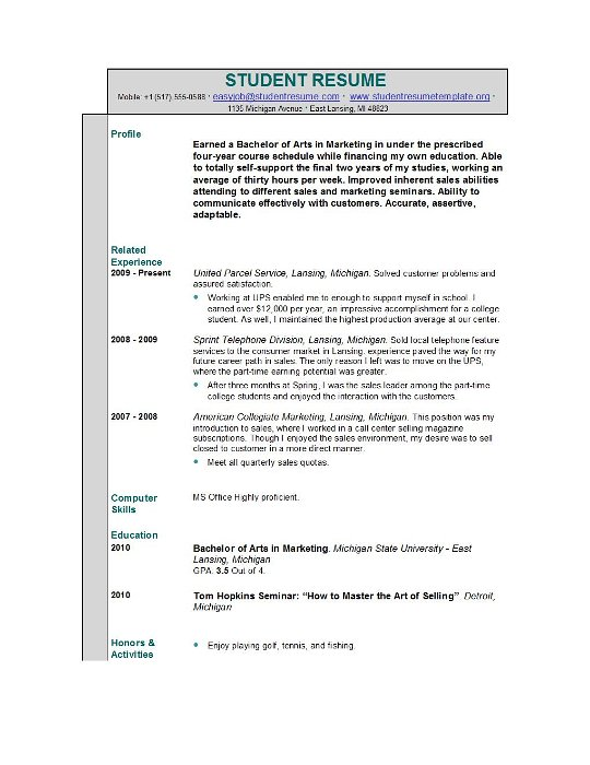 Free Resume Templates Students No Experience