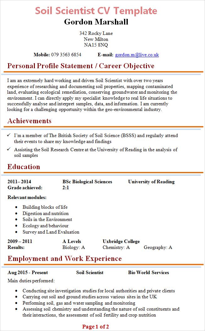 Cv Template Scientist