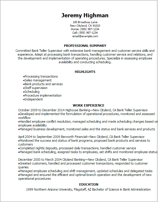 Resume Examples Bank Teller Resume Examples