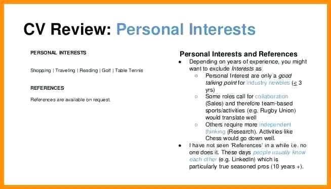 Interests On Resume Examples