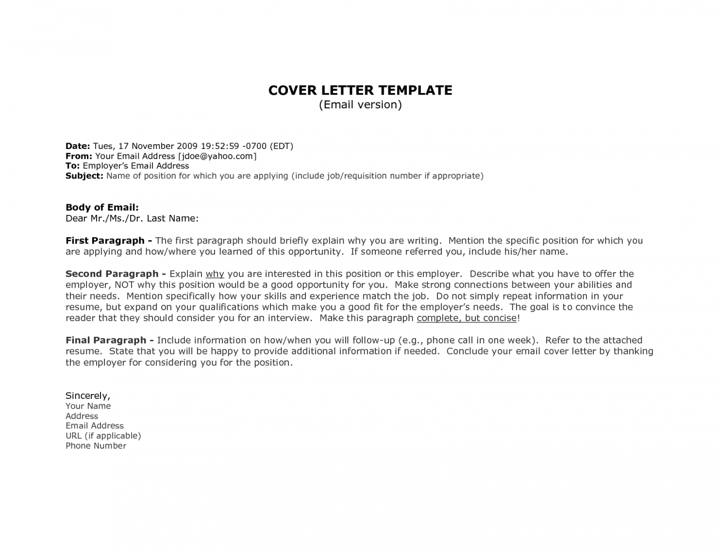 1St Job Cover Letter Template