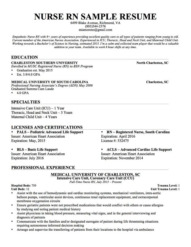 Resume Examples For Nurses