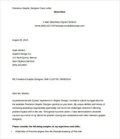Cover Letter Template Graphic Design