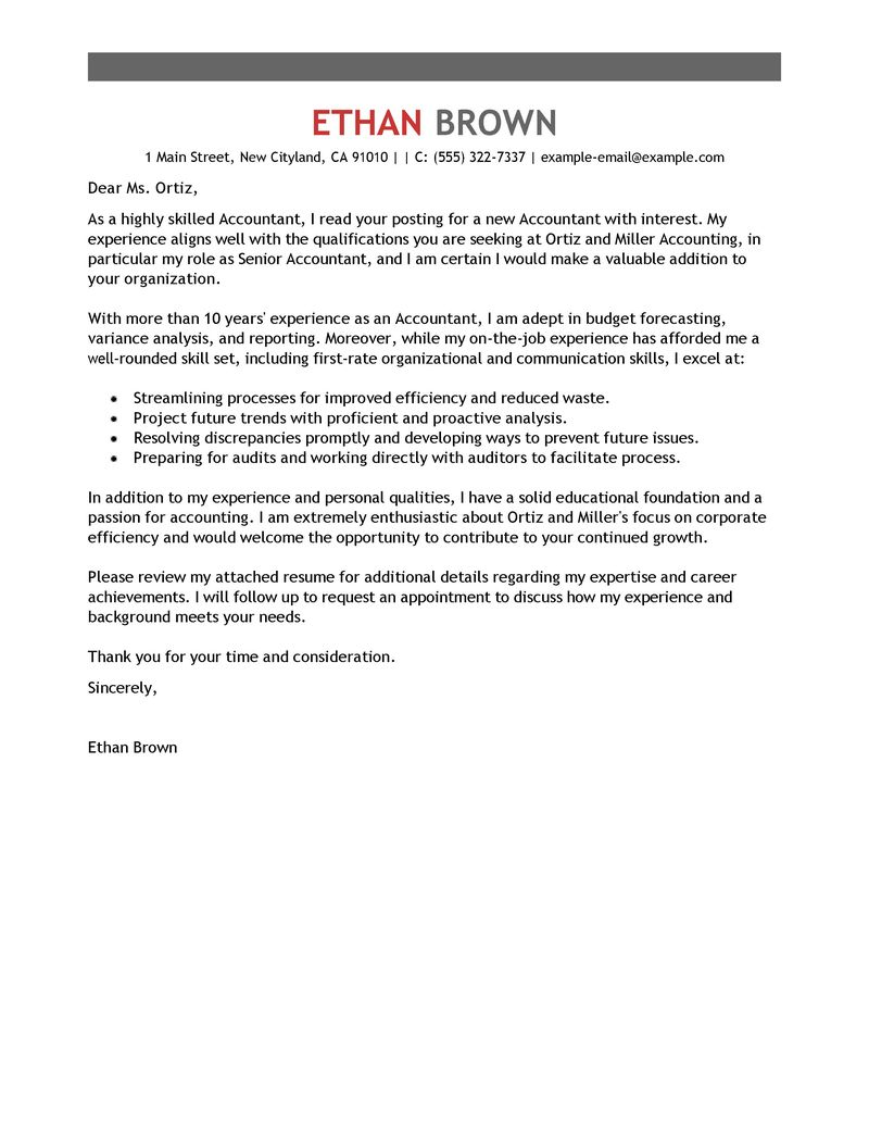 Cover Letter Template Accounting