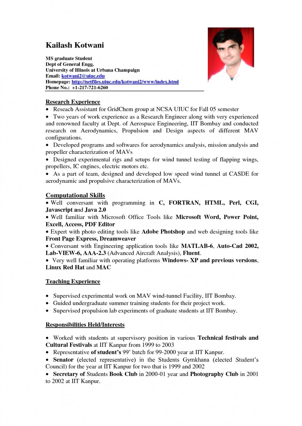 Resume Examples Job Experience