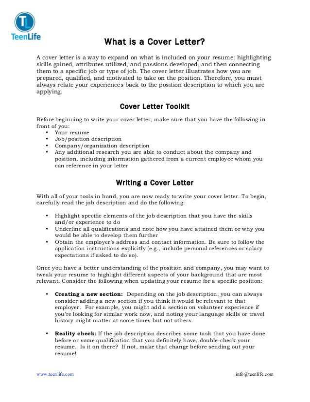 Cover Letter Template Teenager