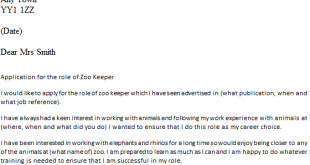 Cover Letter Template For Zoo