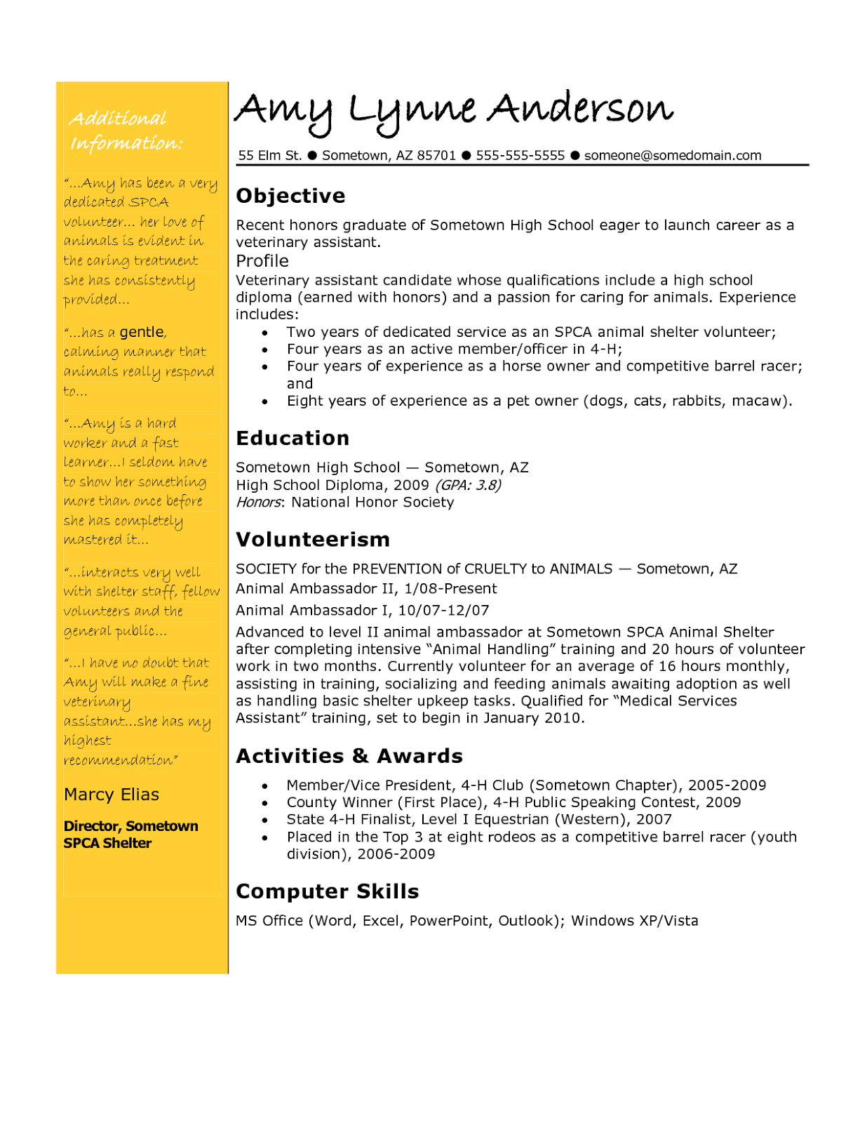 4 h resume examples