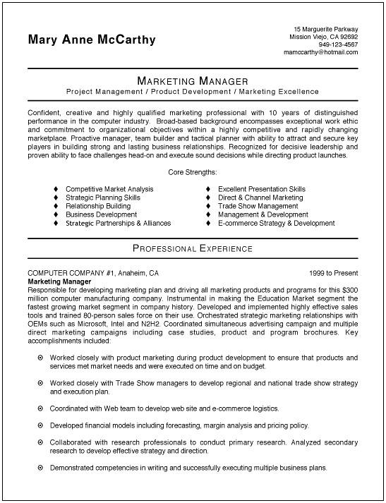 Free Resume Templates Marketing