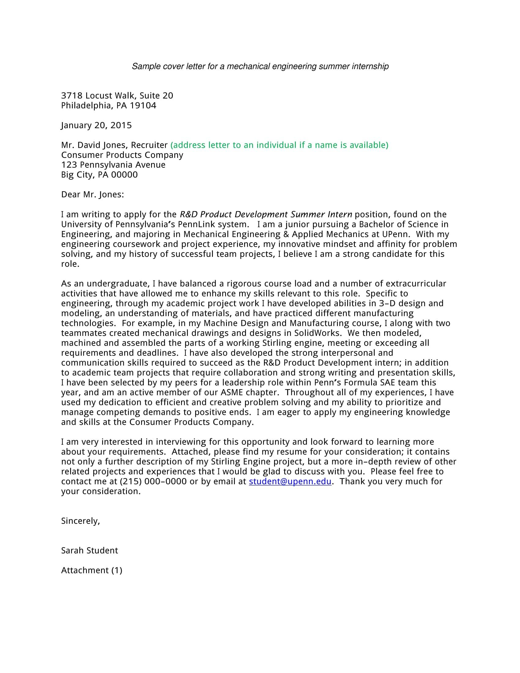 Cover Letter Template For Internship