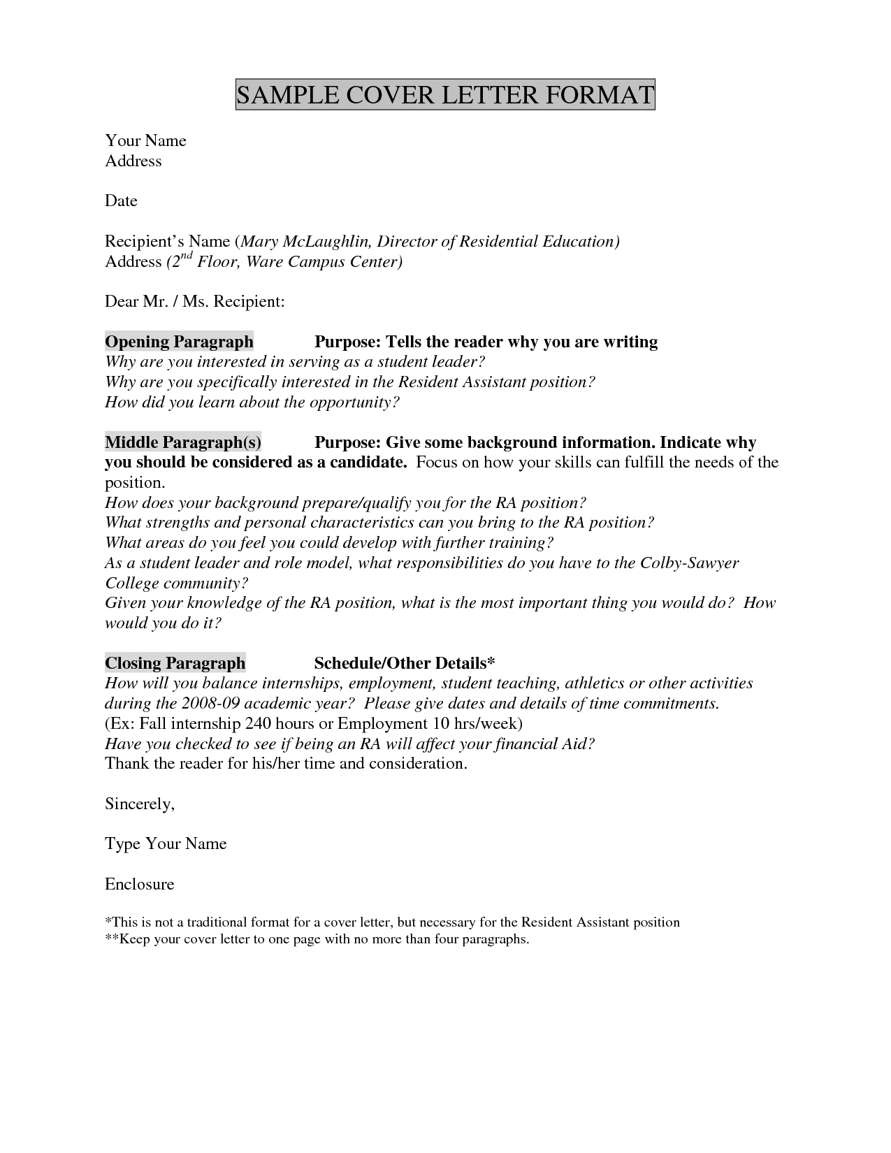 Cover Letter Template No Name