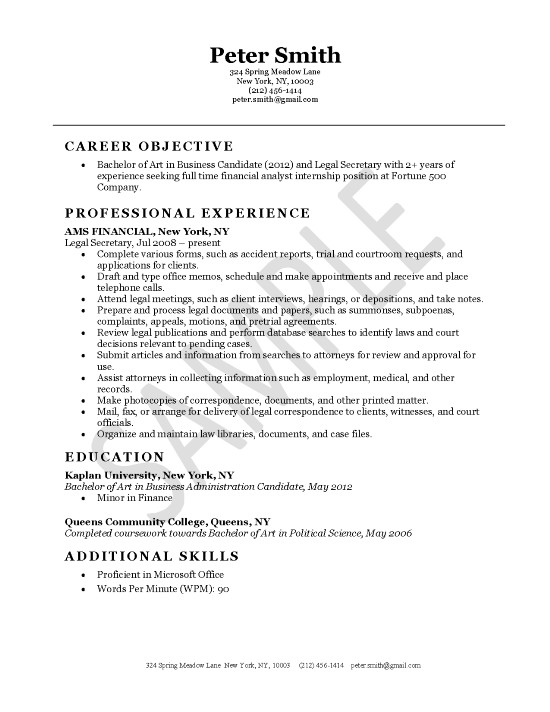 Resume Examples Legal Assistant