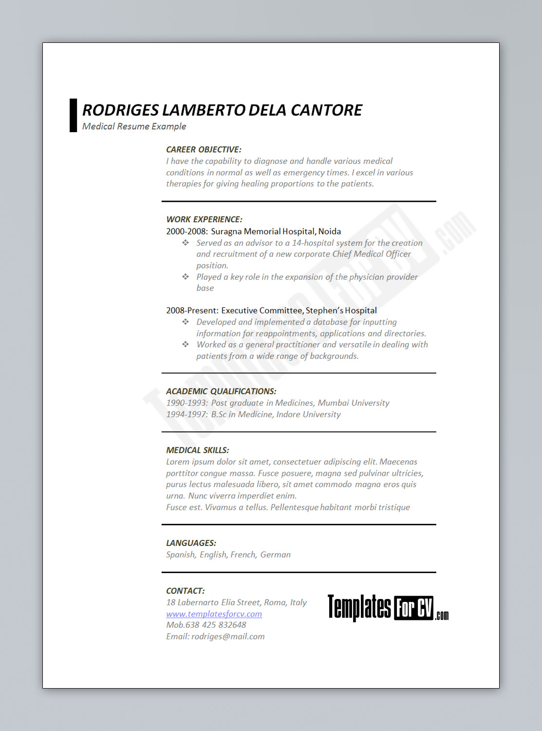 cv template junior