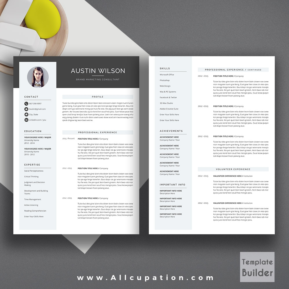 Modern Two Page Resume Kalde Bwong Co