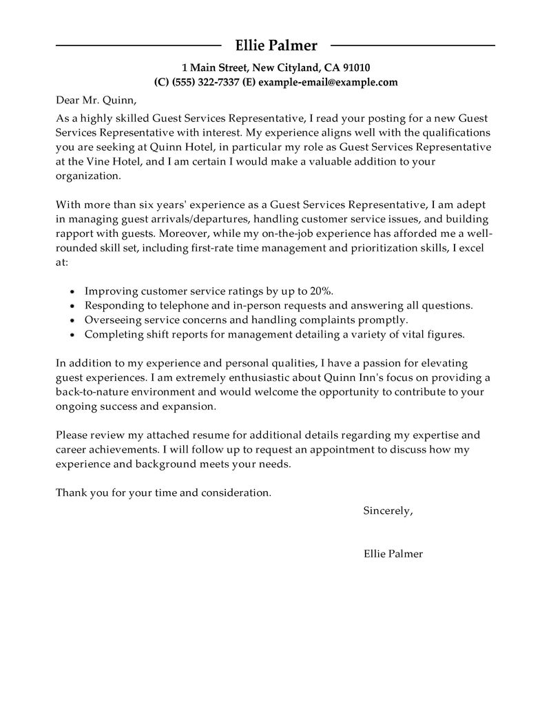 Cover Letter Template Hotel