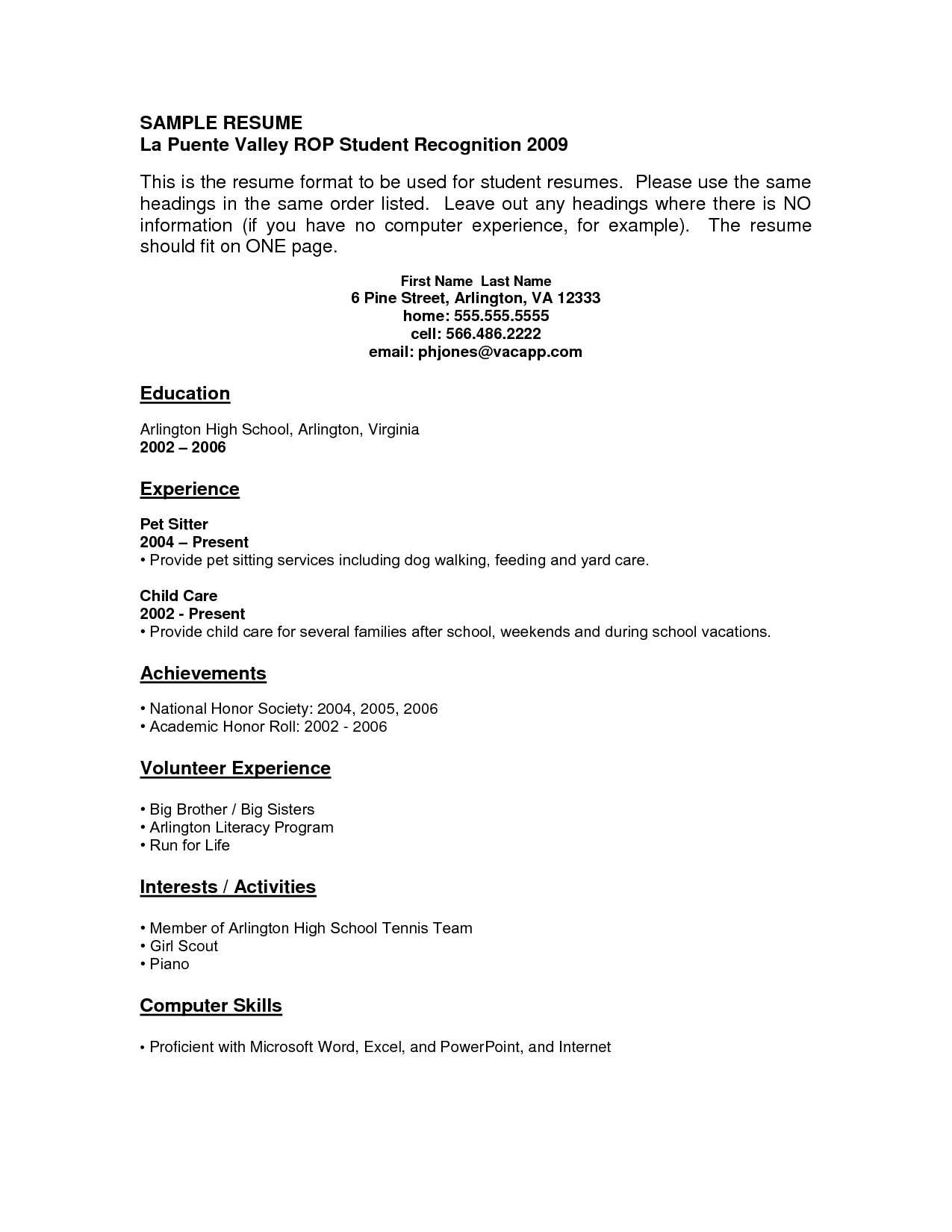 Resume Examples No Work Experience