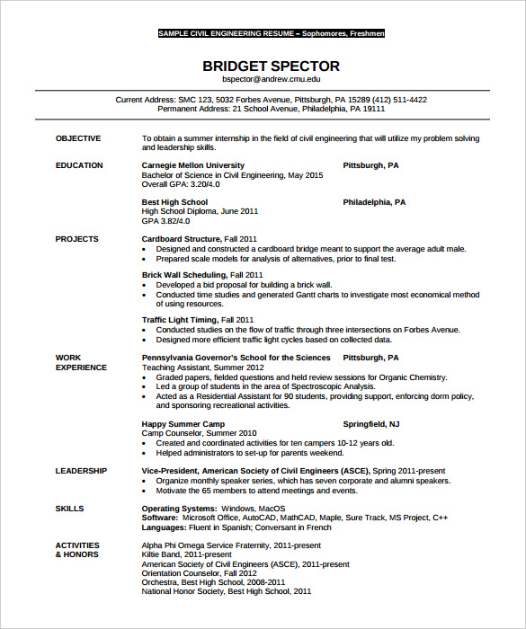 Free Resume Templates Engineering - Resume Examples