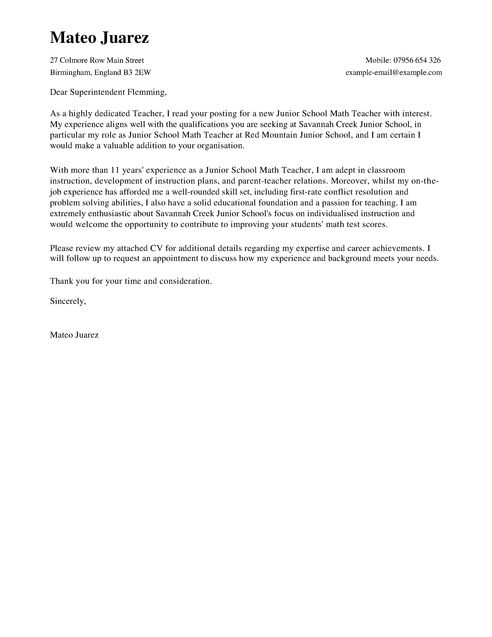 Cover Letter Template For Teachers